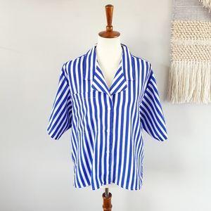 Vintage 80's Anne Klein Button Front Blouse - Blue